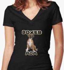 Boxer Dog Mom Mother Women's Fitted V-Neck T-Shirt