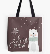 Let It Snow Bear Grey Tote Bag