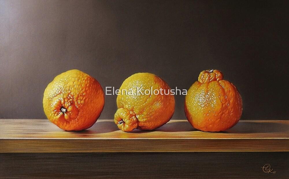 Three tangelos by Elena Kolotusha