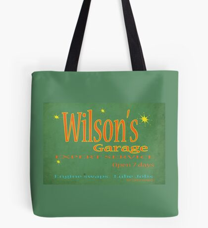 Wilsons Garage Vintage style sign Tote Bag