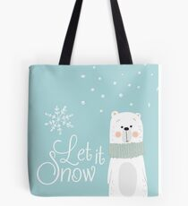 Let It Snow Bear Blue Tote Bag