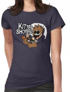 EDDSWORLD KITTEN SHOPPING Womens Fitted T-Shirt