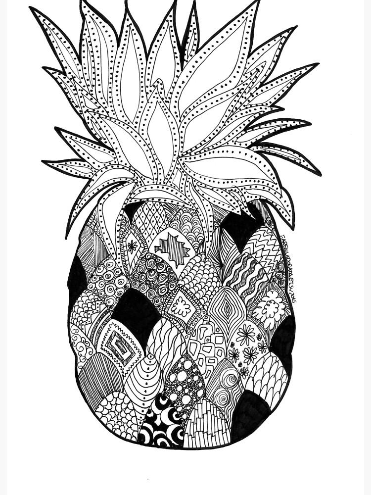 Pineapple Draw Zentangle Art Black And White Art Board Print By Farfalladorata