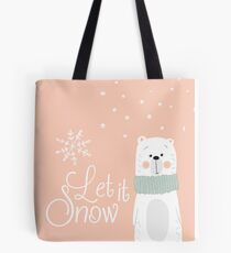 Let It Snow Bear Pink Tote Bag