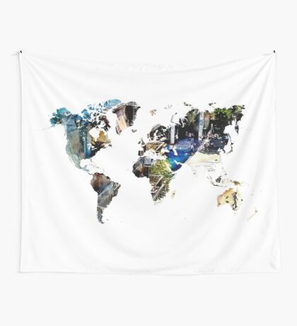 Map of the world blue watercolor Wall Tapestry