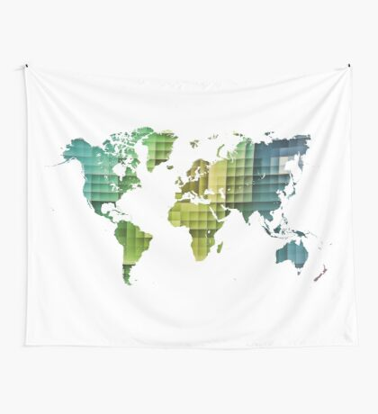 Map of the world green cube Wall Tapestry