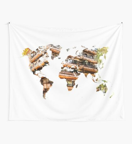 Map of the world architecture Wall Tapestry