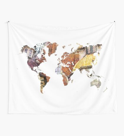 Map of the world architecture style Wall Tapestry