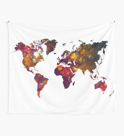 World Map Mountains Wall Tapestry