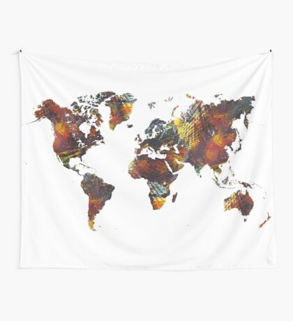 World Map Cube art Wall Tapestry
