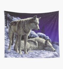 Night Watch - Wolves Oil Painting Wall Tapestry