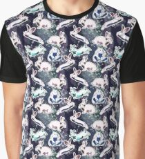 Space Bunny Pattern Graphic T-Shirt