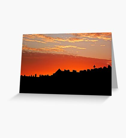 Sunset Over The Rooftops at Hove Greeting Card