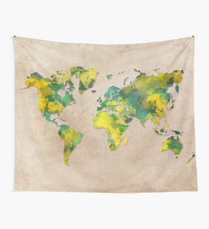 World Map 2040 Wall Tapestry