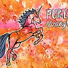 Pure Strength. Magical Unicorn Watercolor Illustration. by mellierosetest