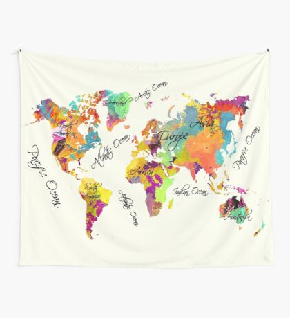 world map text color Wall Tapestry