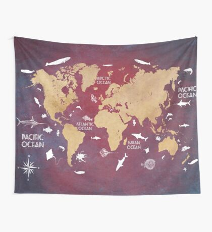 Oceans Life World Map red Wall Tapestry