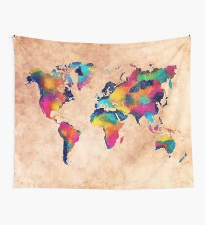world map watercolor 5 Wall Tapestry