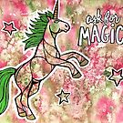 Ask for Magic. Magical Unicorn Watercolor Illustration. by mellierosetest