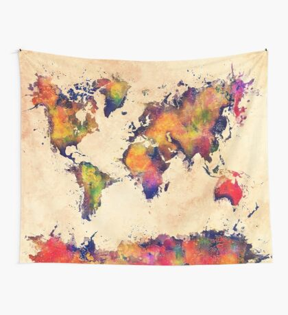 World map watercolor 3 Wall Tapestry