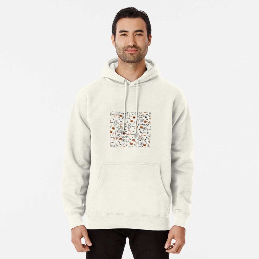 Orange Flower Pattern Pullover Hoodie