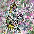 Find Fierceness. Magical Unicorn Watercolor Illustration. by mellierosetest