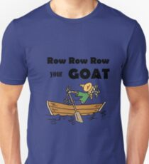 Funny Goat Rowing in Rowboat Cartoon T-Shirt