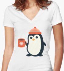 Penguin the Cute Penguin Winter Adorable Animal Women's Fitted V-Neck T-Shirt