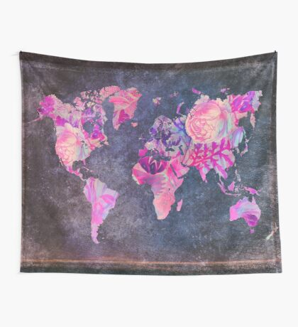 Map Of The World Vintage Wall Tapestry