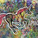 Explore Magic. Magical Unicorn Watercolor Illustration. by mellierosetest