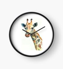 plain giraffe my digital art Clock