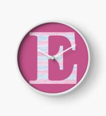 Letter E Blue And Pink Dots And Dashes Monogram Initial Clock