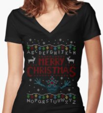 MERRY CHRISTMAS FROM THE UPSIDE DOWN! Women's Fitted V-Neck T-Shirt