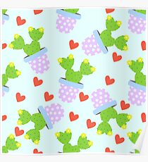Cute cactus with red hearts.  Poster