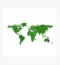Green World Map  Photographic Print
