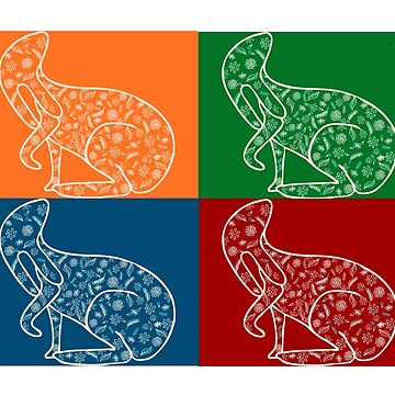 Floral Four Square Hare  by lynhurring