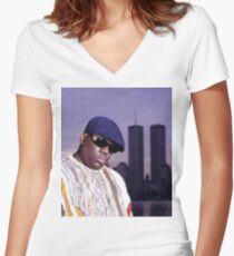 The Notorious BIG World Trade Center Biggie Smalls Twin Towers Women's Fitted V-Neck T-Shirt