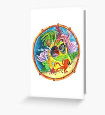 Occupied!  Divers Helmet in the deep Greeting Card