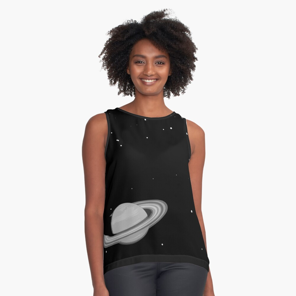 Black and White Saturn Contrast Tank Front