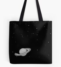 Black and White Saturn Tote Bag