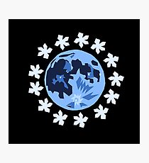 Moon and Flowers Graphic Photographic Print