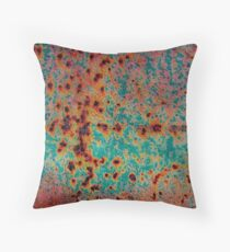 Orange and Aqua Rust Throw Pillow