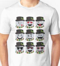 Funny Christmas Snowman Emoji Faces Unisex T-Shirt