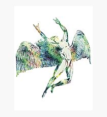 ICARUS THROWS THE HORNS - light watercolor paint splotches   ***FAV ICARUS GONE? SEE BELOW*** Photographic Print