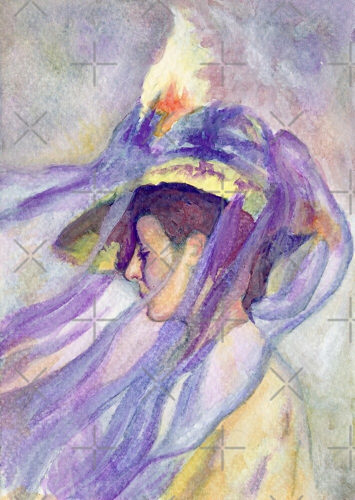 Woman with Blue Veil by Hajra Meeks