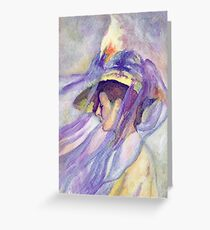Woman with Blue Veil Greeting Card
