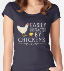 Easily Distracted By Chickens Women's Fitted Scoop T-Shirt