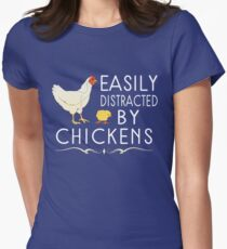 Easily Distracted By Chickens Women's Fitted T-Shirt