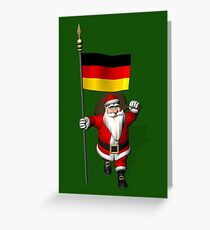 Santa Claus With Flag Of Germany Greeting Card