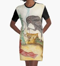 Crow with Hookah Graphic T-Shirt Dress
